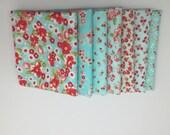 WINTER SALE - Fat Quarter Bundle (8) - Little Ruby in Aqua - Bonnie and Camille for Moda Fabrics