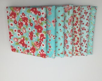 SALE - Fat Quarter Bundle (7) - Little Ruby in Aqua - Bonnie and Camille for Moda Fabrics