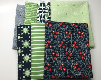 WINTER SALE - Daysail - Fat Quarter Bundle (7)  Green and Navy - by Bonnie and Camille for Moda Fabrics