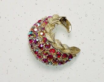 Vintage Crescent Brooch Pin, Multi AB Rhinestones, Pink - Red Aurora Borealis Crystals, Gold Tone Metal