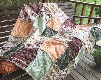 Crib or Toddler, Rag Quilt, YOU CHOOSE SIZE,  Forest Floor fabrics, brown peach and green, comfy cozy handmade baby, gender neutral