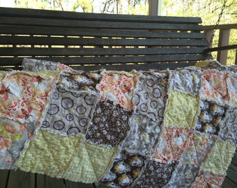 Crib or Toddler, Rag Quilt, YOU CHOOSE SIZE,  Sweet as Honey in autumn fabrics, brown and peach, comfy cozy handmade baby