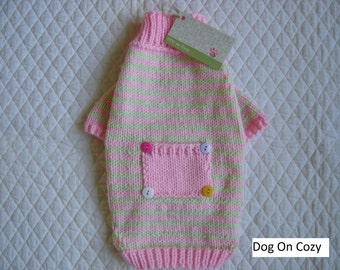 Striped Dog Sweater, Full Length Pet Sweater, Size SMALL, Whimsy Pink and Green with Pocket