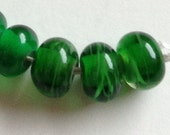 Reserved auction Green lampwork beads large hole will fit european charm bracelet