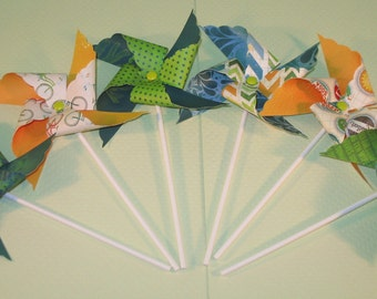 NEW - Whimsical Caribbean Pinwheel Collection (Qty 14)  Pinwheels, Decorative Pinwheels, Table Top Party Props, Table Top Party Center Piece