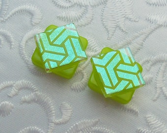 Green Earrings - Dichroic Fused Glass Post Earrings - Dichroic Stud Earrings - Friendship Jewelry - Post Earrings X1193