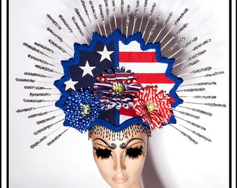Independence Day…. Halo Headdress in Red White and Blue Stars and Stripes With Flowers and Glitter