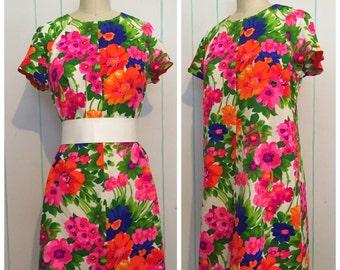 60s Neon Floral Mini Dress Size 10