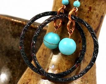 Boho Jewelry, Bohemian Jewelry, Hammered Jewelry, Hoop Earrings