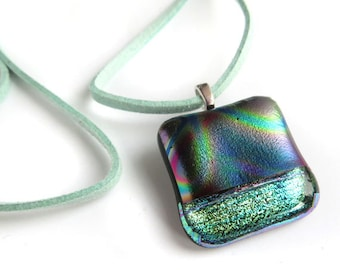 Glass Pendant, Fused Dichroic Glass Necklace, Rainbow Patterned Dichroic Pendant necklace, Fused Glass pendant, dichroic jewelry, UK SRAJD