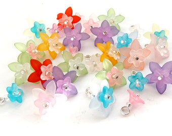 """Lucite Flower Dangles, Mixed bead charms, Pre-wired Dangle Beads for DIY Charm Bracelets  - """"Floral"""" wire wrapped bead charms, Set of 15"""