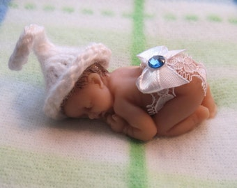Birthday Birthstone Polymer Clay  Baby with Lacy Diaper and Stocking Hat