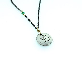 sterling silver om necklace . emerald necklace . silver and gold jewelry . eco friendly yoga jewelry gift by peacesofindigo . ready to ship