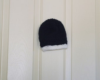 Hand Knitted - Navy with White Trim Baby Hat