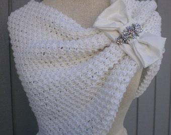 Wedding accessories, wedding shawl, bridal accessories, bridal shawl, white wedding, knitted white shawl, bridal dress shawl, bolero jacket