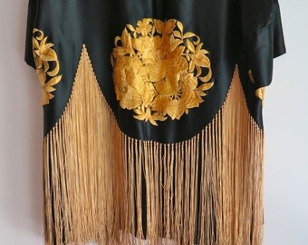 Silk Piano Shawl Kimono /Jacket/Robe with Fringe in Black and Gold One Size