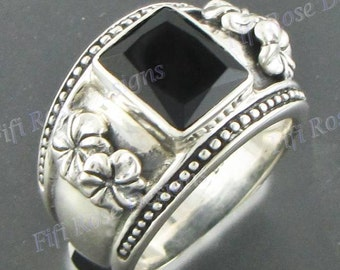 Gorgeous Onyx Gems 925 Sterling Silver Sz 6.5 Ring