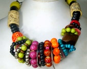 BOHO Gypsy Bead Necklace on Leather, Adjustable Chain Length Also. Tribal Colorful Fun, Even Elephant Beads, Ooak,