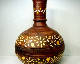 SALE from 34 to 22, Wood VASE, OxBone Marquetry Floral, 1960s Hand Turned, Handmade, Hand Carved Inlaid Old Beauty