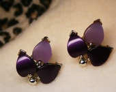 Vintage 1950s Purple Stone Floral Clip-On Earrings