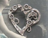 Vintage Sterling Silver Heart wound with Flowering Ivy