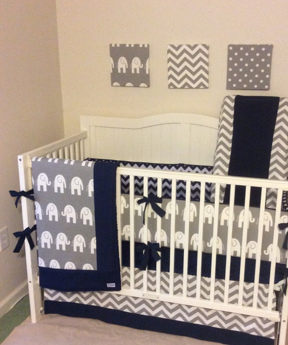baby boy crib bedding navy and gray by butterbeansboutique on etsy. Black Bedroom Furniture Sets. Home Design Ideas