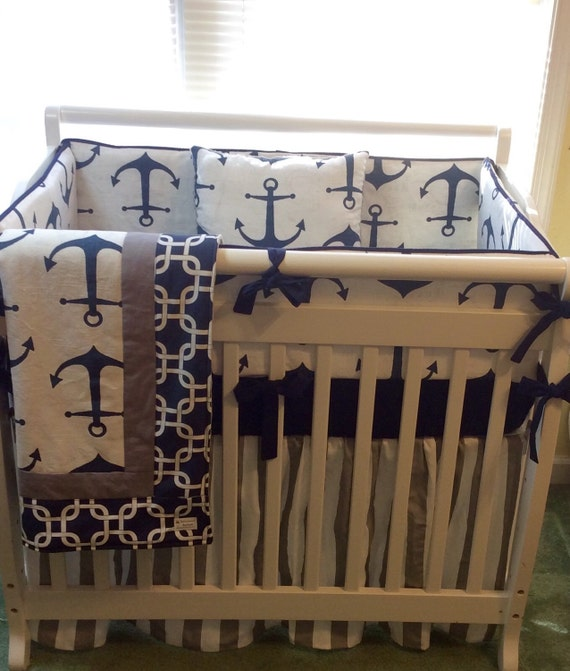 nautical navy and gray anchors baby boy mini crib bedding made. Black Bedroom Furniture Sets. Home Design Ideas