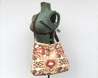 Red Ikat Messenger Bag, Ikat Red Crossbody Bag, Ikat Purse, Cross Shoulder Bag, Red Coper Brown Tan