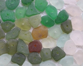 59 Sea Glass Sequins Centre Drilled 1.5mm holes Imperfections Supplies (1841)