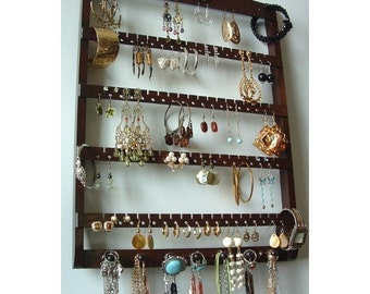 Earring Holder Jewelry Organizer, Lovely Dark Mahogany Stained Wood, Wall Mounted, Necklace Storage, Oak Hardwood, Holds Lots of Earrings