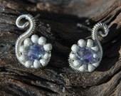 Lavender Crystal Swan Earrings