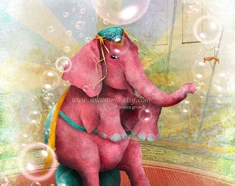 "SUMMER SALES EVENT Elephant Art Print - ""Senora Beatriz, el elefante rosa"" Medium Sized Premium Hahnemuhle Giclee Fine Art Print 8.5x11 Or 8"