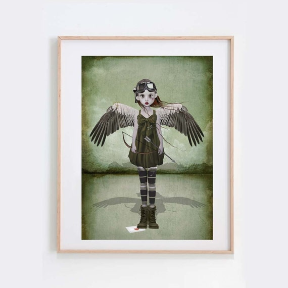 Steampunk Art Print - Cupid - Love Art Print - Wall Decor