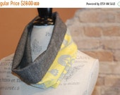SALE Grey Wool Tweed and Modern Yellow Cotton Fabric Cowl Infinity Scarf Neckwarmer - Fall Winter Fashion Accessory - Ladies Teens Tweens