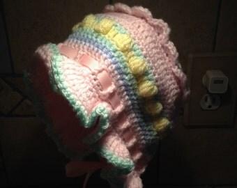 Sweet Little Hand Crocheted Baby Bonnet