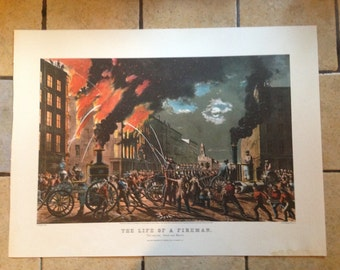 1968 Currier and Ives The Life of a Fireman Antique Illustration