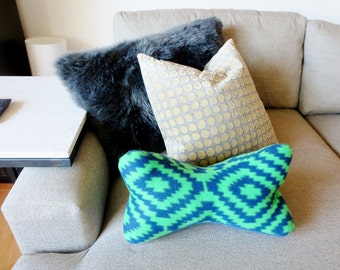 Fleece Bone Shaped Neck Pillow - Blue and Green Fleece head support pillow - Ready to ship