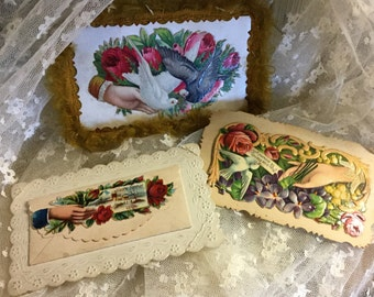 Antique Victorian Era Calling Cards Lot of Three Colourful Repousse Embellished