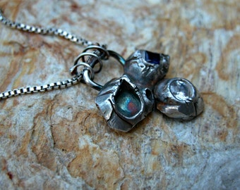 Fine silver barnacle necklace with cubic zirconia
