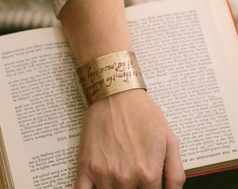 Dracula by Bram Stoker Vampire Gothic Literature Brass Cuff Bracelet