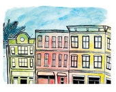 King Street Charleston 8.5x11in Print of Original Illustration