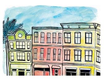 King Street Charleston 8.5x11in Print of Original Illustration