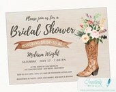 Cowboy Boot Rustic Bridal Shower Invitation, Country, Boho Chic, Printable or Printed