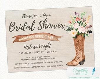 Cowboy Boot Rustic Bridal Shower Invitation, Country, Boho Chic, Printable or Printed