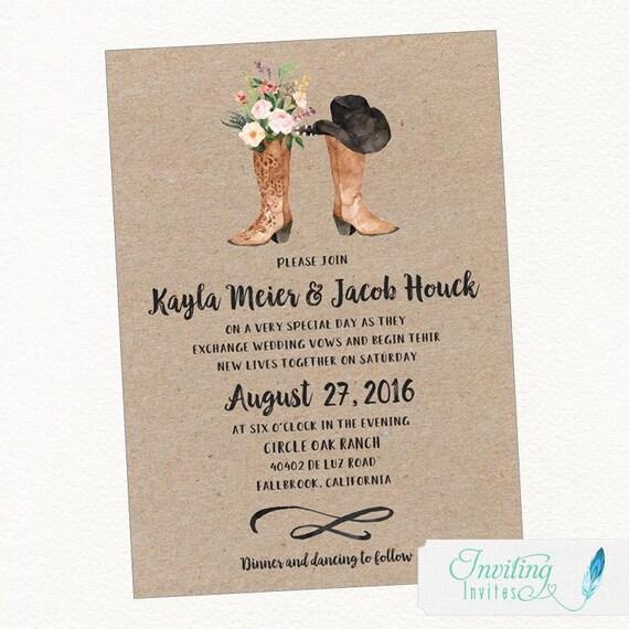 Cowboy Boot Rustic Wedding Invitation Country Wedding