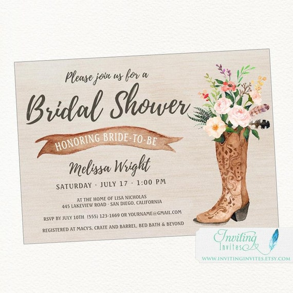 Cowboy Boot Rustic Bridal Shower Invitation By Invitinginvites