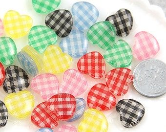 Heart Resin Cabochons - 15mm Mixed Colors Gingham Heart Resin Cabochons - 12 pc set