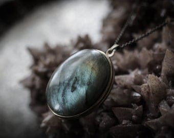 Labradorite Solid Perfume Locket - choose natural perfume inside - For Strange Women