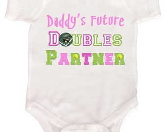 Funny Tennis Rompers by Mumsy Goose  Newborn Bodysuits to Kids Tees Fathers Day or Mothers Day