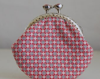 Ruby Geo Coin Purse Change Pouch with Metal Kiss Lock Clasp Frame - READY TO SHIP